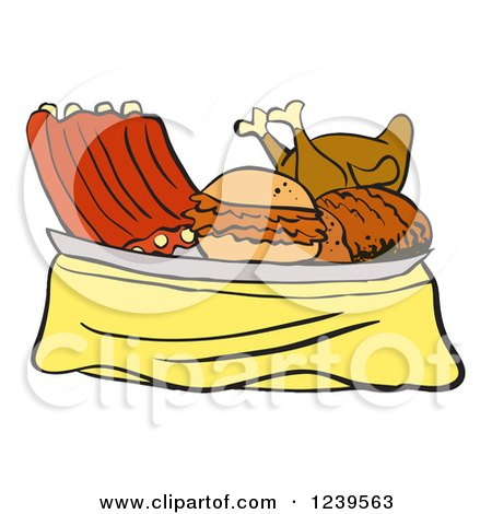 Clipart of a Platter of Bbq Ribs, Roasted Chicken, Brisket and Pulled Pork Sandwich - Royalty Free Vector Illustration by LaffToon