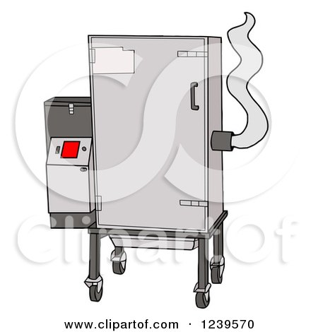 Clipart of a Bbq Fast Eddy Smoker - Royalty Free Vector Illustration by LaffToon