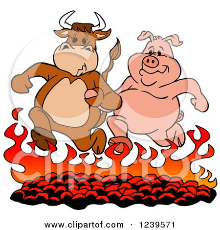 Clipart of a Bull and Pig Running over Hot Bbq Coals - Royalty Free Vector Illustration by LaffToon