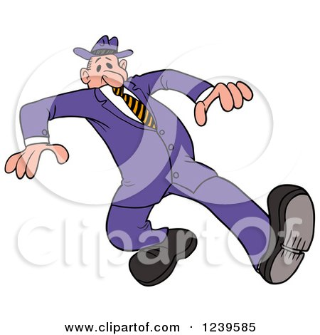 Clipart of a Caucasian Man Wearing a Purple Suit and Fedora Hat - Royalty Free Vector Illustration by LaffToon