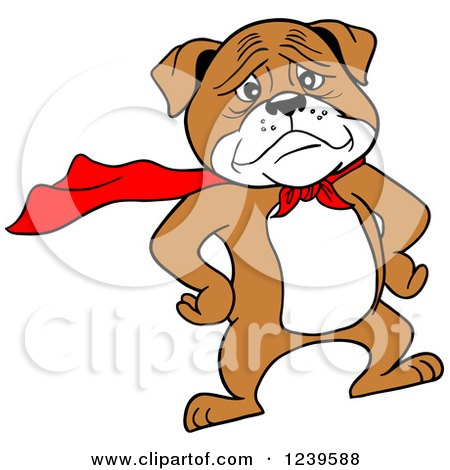 Clipart of a Super Bulldog in a Red Cape - Royalty Free Vector Illustration by LaffToon