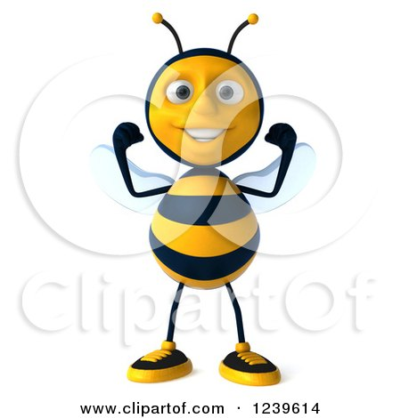 Clipart of a 3d Strong Bee Flexing His Muscles - Royalty Free Illustration by Julos