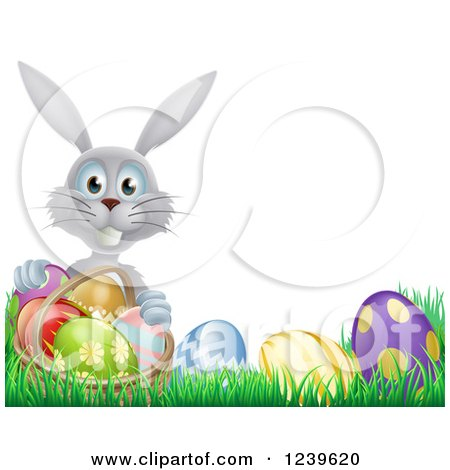 Clipart of a Happy Gray Easter Bunny with a Basket and Eggs in Grass - Royalty Free Vector Illustration by AtStockIllustration