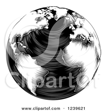 Clipart of a Black and White Woodblock Earth - Royalty Free Vector Illustration by AtStockIllustration