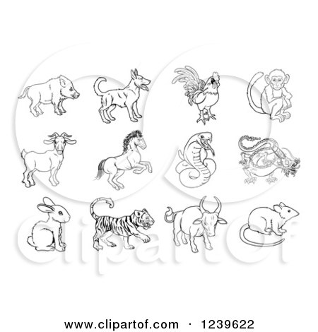 Clipart of Black and White Outlined Chinese Zodiac Animals - Royalty Free Vector Illustration by AtStockIllustration