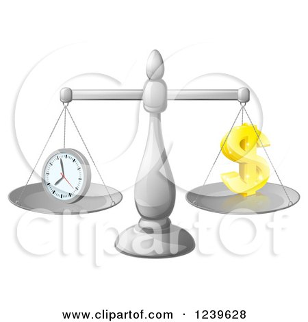 Clipart of a 3d Scales Balancing Time and Money As a Dollar Symbol - Royalty Free Vector Illustration by AtStockIllustration
