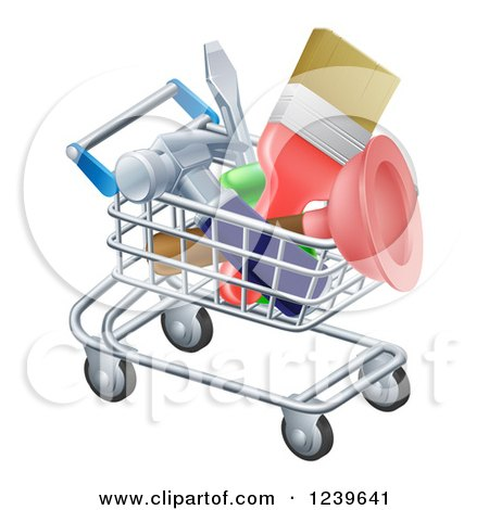 Clipart of a 3d Shopping Cart Full of DIY Tools - Royalty Free Vector Illustration by AtStockIllustration