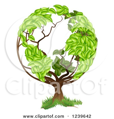 Clipart of a Tree with a Leafy Earth Globe Canopy - Royalty Free Vector Illustration by AtStockIllustration