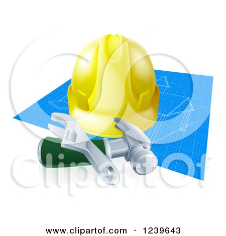 3d Builder Hardhat and Tools over Blueprints Posters, Art Prints