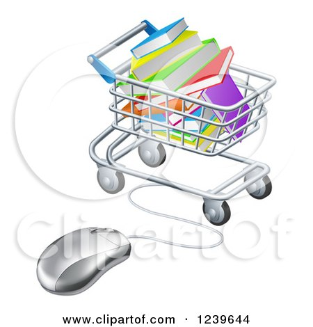 Clipart of a Shopping Cart Full of Books, Wired to a Computer Mouse - Royalty Free Vector Illustration by AtStockIllustration