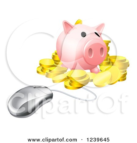 Clipart of a Computer Mouse Wired to a 3d Piggy Bank with Gold Coins - Royalty Free Vector Illustration by AtStockIllustration