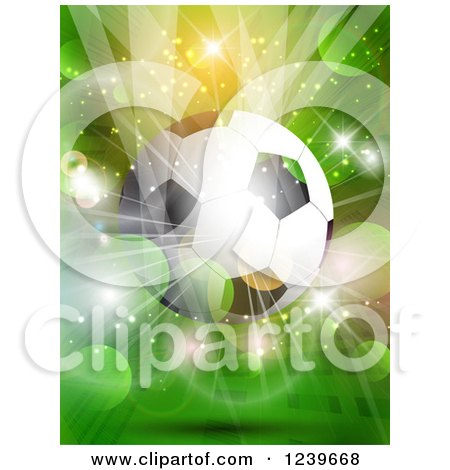 Clipart of a Soccer Ball over a Green Flare and Burst Background - Royalty Free Vector Illustration by KJ Pargeter