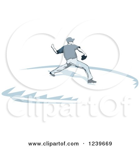 Clipart of a Blue Toned Baseball Pitcher - Royalty Free Vector Illustration by David Rey