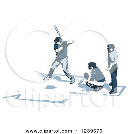 Clipart of a Baseball Umpire Catcher and Batter - Royalty Free Vector Illustration by David Rey