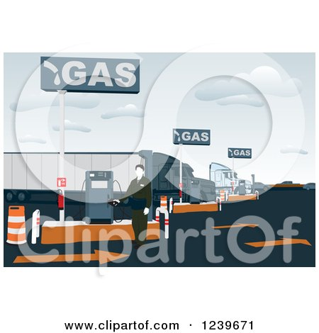 Clipart of a Gas Station Attendant at a Pump - Royalty Free Vector Illustration by David Rey