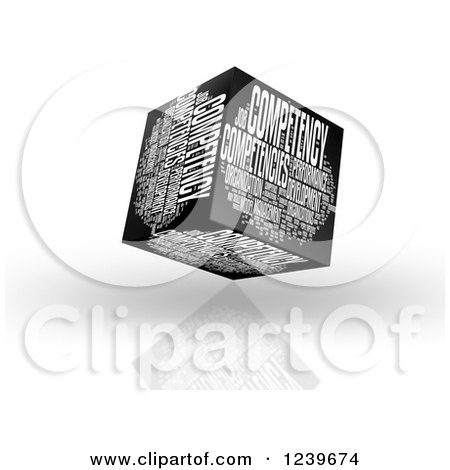 Clipart of a 3d Competency Word Collage Box - Royalty Free CGI Illustration by MacX