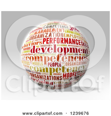 Clipart of a 3d Competency Word Collage Sphere - Royalty Free CGI Illustration by MacX