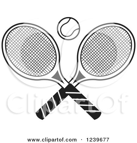 Clipart of Black and White Crossed Tennis Racquets and a Ball - Royalty Free Vector Illustration by Johnny Sajem