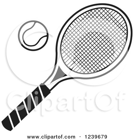 Clipart of a Black and White Tennis Racquet and Ball - Royalty Free Vector Illustration by Johnny Sajem