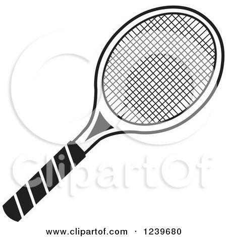 Clipart of a Black and White Tennis Racquet - Royalty Free Vector Illustration by Johnny Sajem