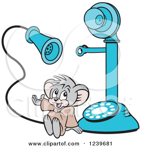 Clipart of a Micah the Church Mouse with a Blue Candlestick Telephone - Royalty Free Vector Illustration by Johnny Sajem