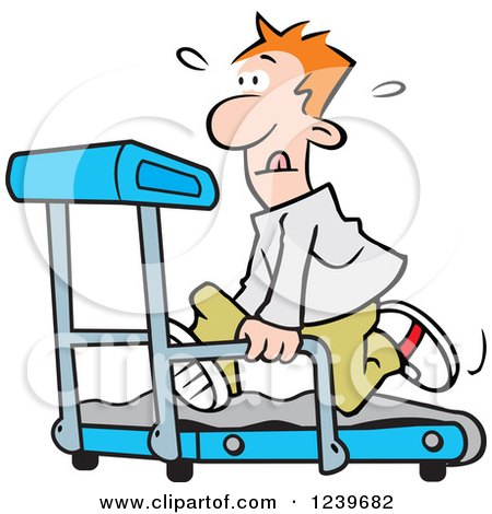 Clipart of a Red Haired Man Running on a Treadmill - Royalty Free Vector Illustration by Johnny Sajem