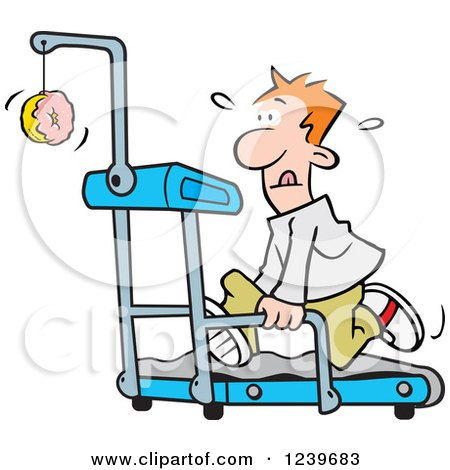 Clipart of a Red Haired Man Running in Front of a Dangling Donut on a Treadmill - Royalty Free Vector Illustration by Johnny Sajem