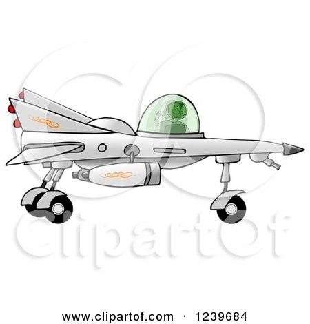 Clipart of a Black Boy Astronaut Flying a Star Fighter Jet - Royalty Free Illustration by djart