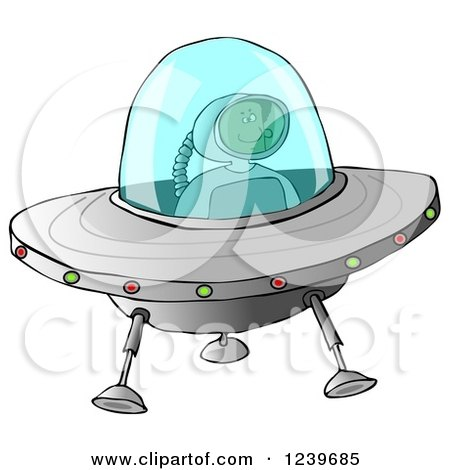 Clipart of a Black Astronaut Flying a UFO - Royalty Free Illustration by djart