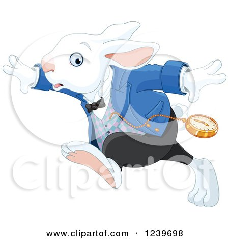 Clipart of a Late White Rabbit of Wonderland Running - Royalty Free Vector Illustration by Pushkin