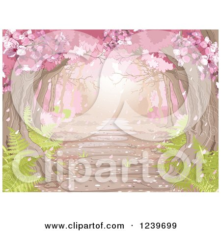 Clipart of a Canopy of Pink Spring Blossoms over a Stone Path with Ferns - Royalty Free Vector Illustration by Pushkin