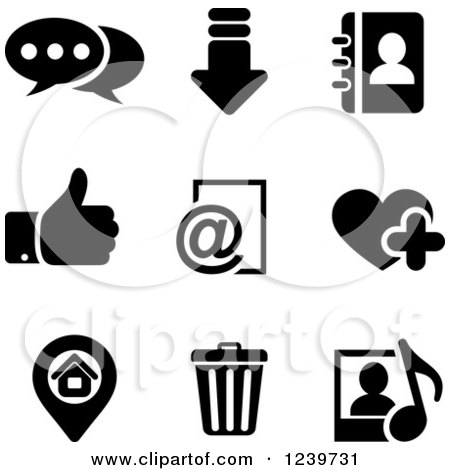 Clipart of Black and White Multimedia Icons - Royalty Free Vector Illustration by Vector Tradition SM