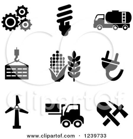 Clipart of Black and White Agriculture and Energy Icons - Royalty Free Vector Illustration by Vector Tradition SM