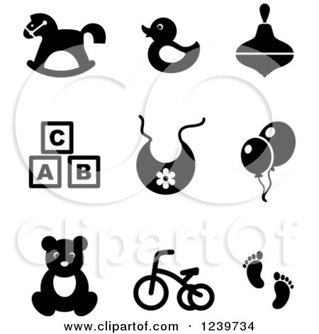 Clipart of Black and White Baby Icons - Royalty Free Vector Illustration by Vector Tradition SM