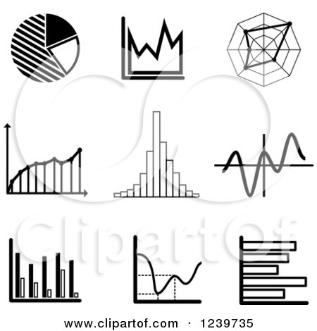 Clipart of Black and White Graph Icons - Royalty Free Vector Illustration by Vector Tradition SM