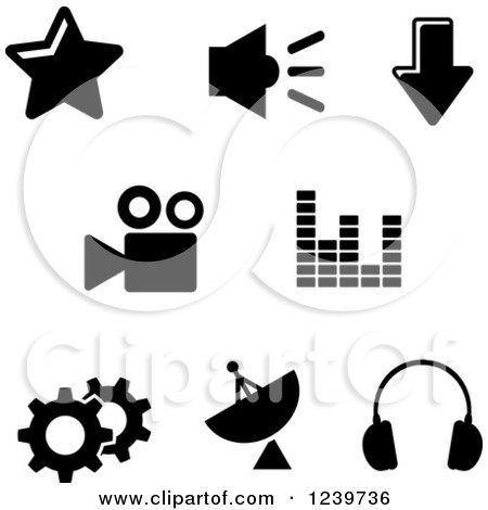 Clipart of Black and White Internet Icons - Royalty Free Vector Illustration by Vector Tradition SM