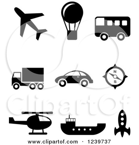 Clipart of Black and White Transportation Icons - Royalty Free Vector Illustration by Vector Tradition SM