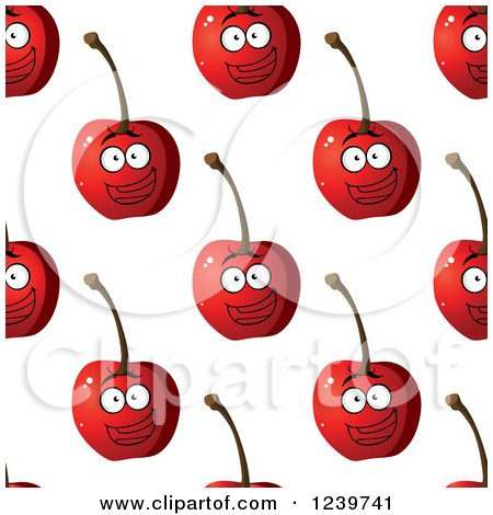 Clipart of a Seamless Background Pattern of Happy Cherries - Royalty Free Vector Illustration by Vector Tradition SM