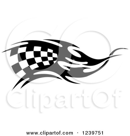 Clipart of a Black and White Flaming Checkered Racing Flag 6 - Royalty Free Vector Illustration by Vector Tradition SM