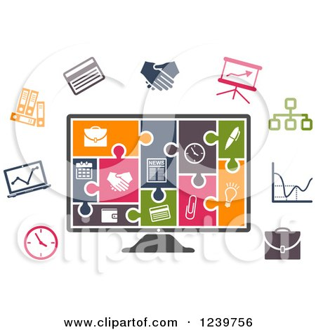 Clipart of a Colorful Icon Jigsaw Puzzle on a Computer Screen and Other Office Icons - Royalty Free Vector Illustration by Vector Tradition SM