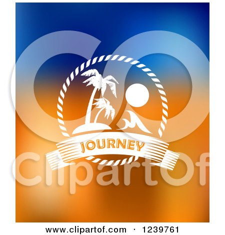 Clipart of |palm Trees and Journey Text on Blue and Orange Royalty Free Vector Illustration by Vector Tradition SM