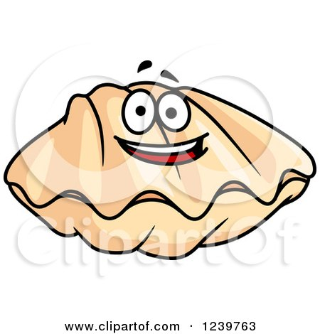 Clipart of a Cartoon Happy Clam - Royalty Free Vector Illustration by Vector Tradition SM