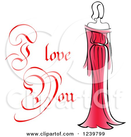 Clipart of a Red I Love You Text with a Woman in a Red Dress 2 - Royalty Free Vector Illustration by Vector Tradition SM