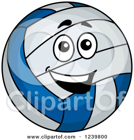 Clipart of a Happy Cartoon Volleyball - Royalty Free Vector Illustration by Vector Tradition SM