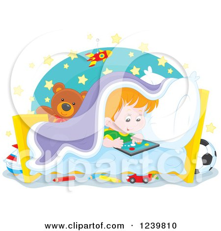 Clipart of a Red Haired Boy Playing at Bed Time - Royalty Free Vector Illustration by Alex Bannykh