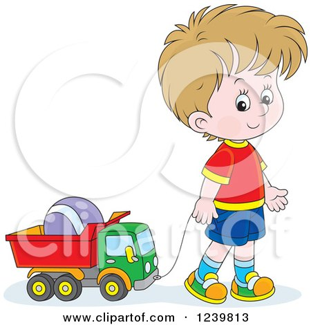 Clipart of a Dirty Blond Caucasian Boy Playing with a Dump Truck Toy - Royalty Free Vector Illustration by Alex Bannykh