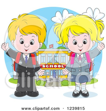 Clipart of a Blond Caucasian School Boy and Girl Waving by a Building - Royalty Free Vector Illustration by Alex Bannykh