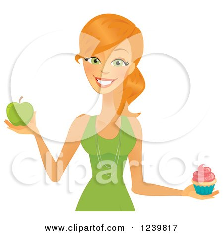 Caucasian Woman Holding a Cupcake and Green Apple Posters, Art Prints