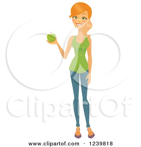 Clipart of a Caucasian Woman Holding a Green Apple - Royalty Free Vector Illustration by Amanda Kate