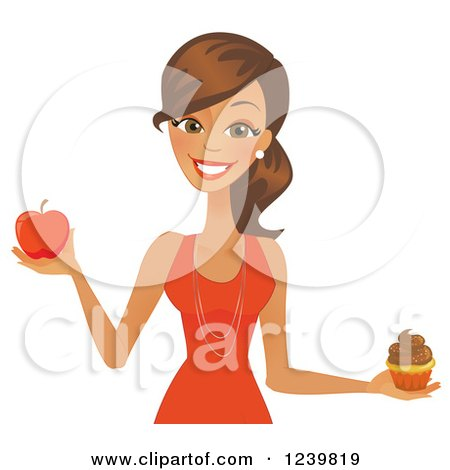 Clipart of a Brunette Woman Holding a Cupcake and Red Apple - Royalty Free Vector Illustration by Amanda Kate